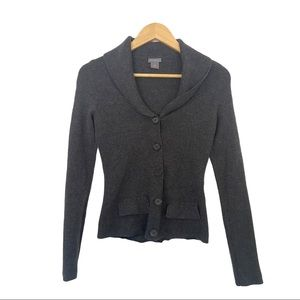 Ann Taylor Gray Wool Cardigan Button Up Sweater S